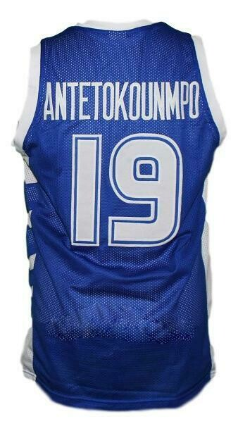 Giannis Antetokounmpo #19 Greece Basketball Jersey Blue