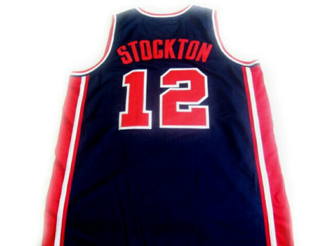 John Stockton #12 Team USA Basketball Jersey Navy Blue