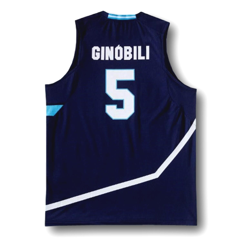 Manu Ginobili #5 Team Argentina Basketball Jersey Navy Blue