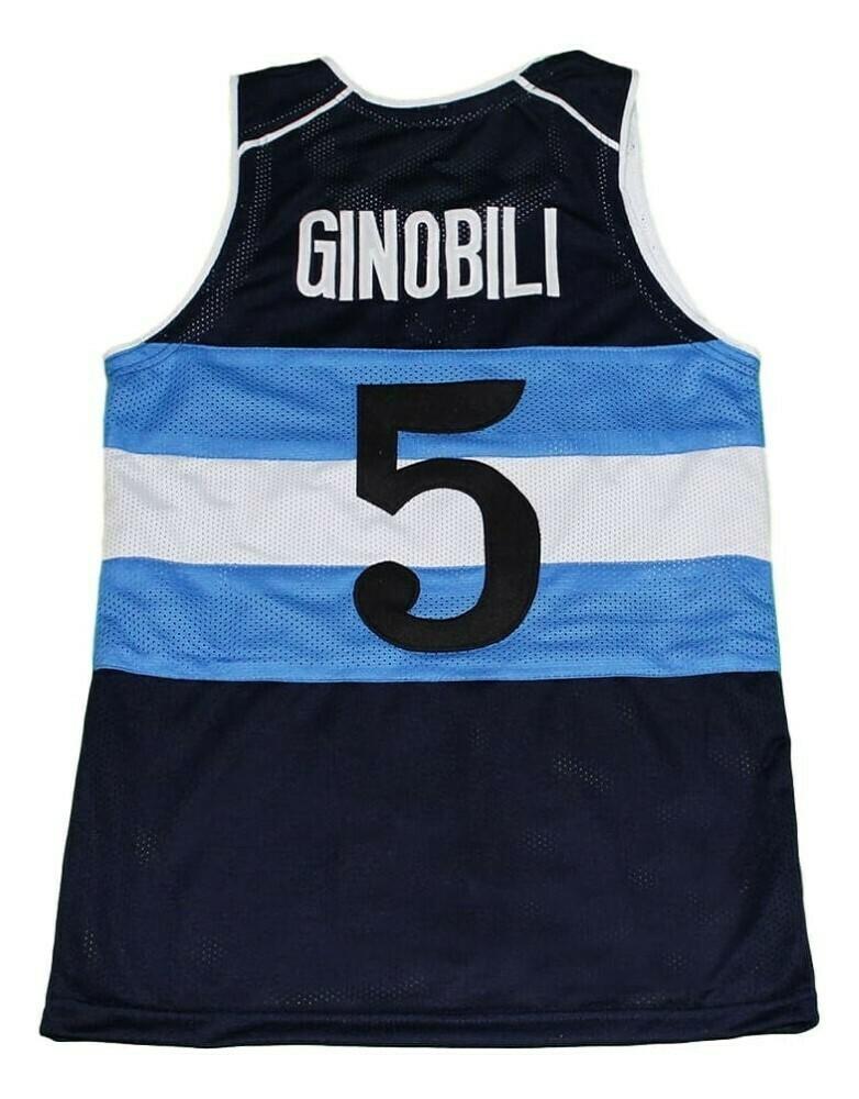 Manu Ginobili #5 Argentina Basketball Jersey Navy Blue