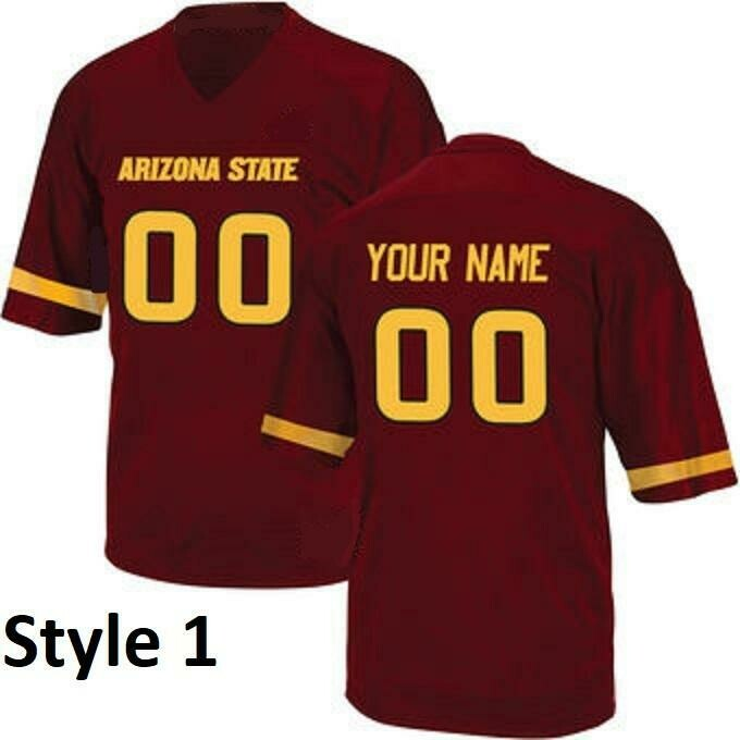 Arizona State Sun Devils Customizable College Style Football Jersey Style 1