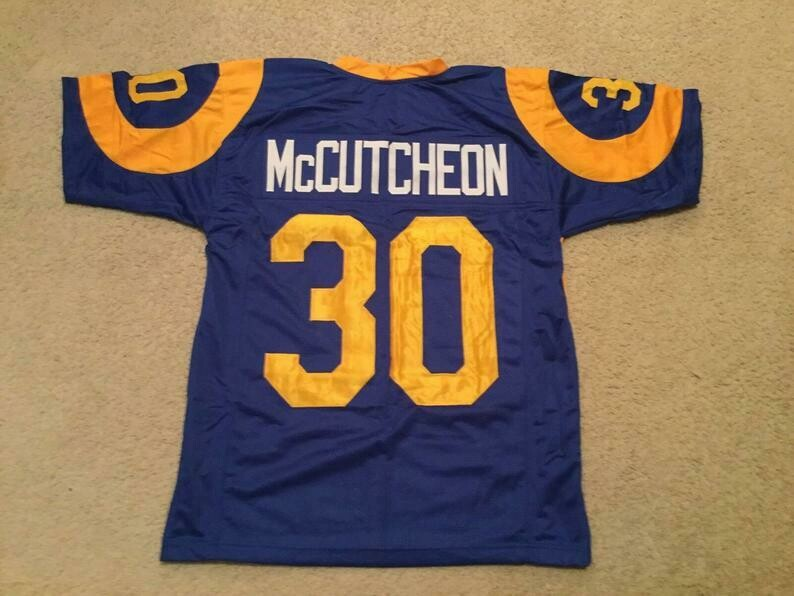 Lawrence McCutcheon UNSIGNED CUSTOM Sewn Stitched Blue Jersey