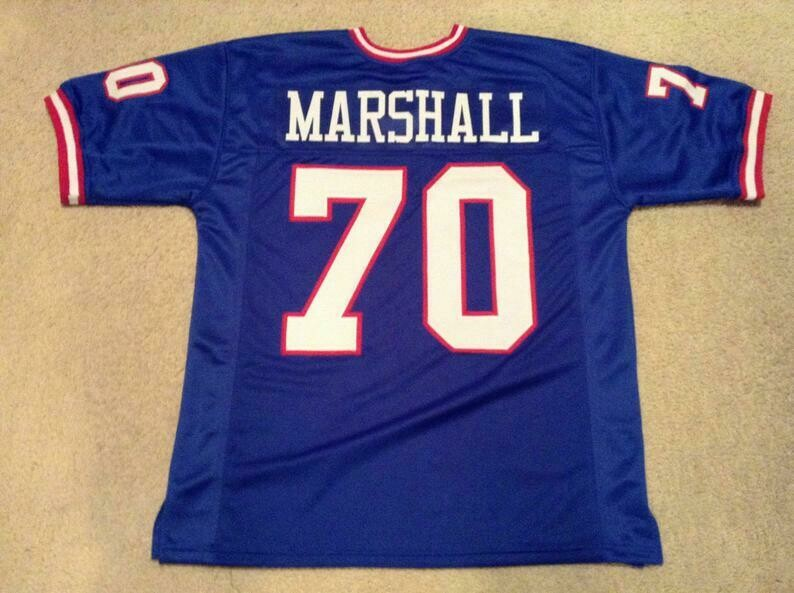 Leonard Marshall UNSIGNED CUSTOM Sewn Stitched Blue Jersey