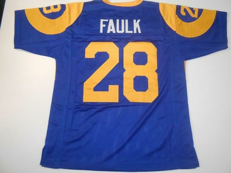 Marshall Faulk UNSIGNED CUSTOM Made Blue Jersey