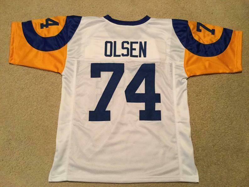 Merlin Olsen UNSIGNED CUSTOM Made White Jersey