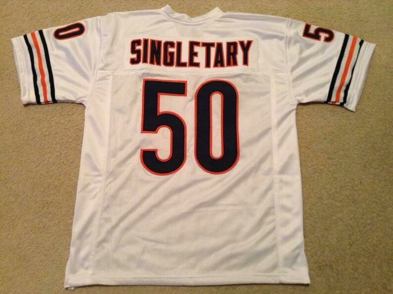 Mike Singletary UNSIGNED CUSTOM Sewn Stitched White Jersey