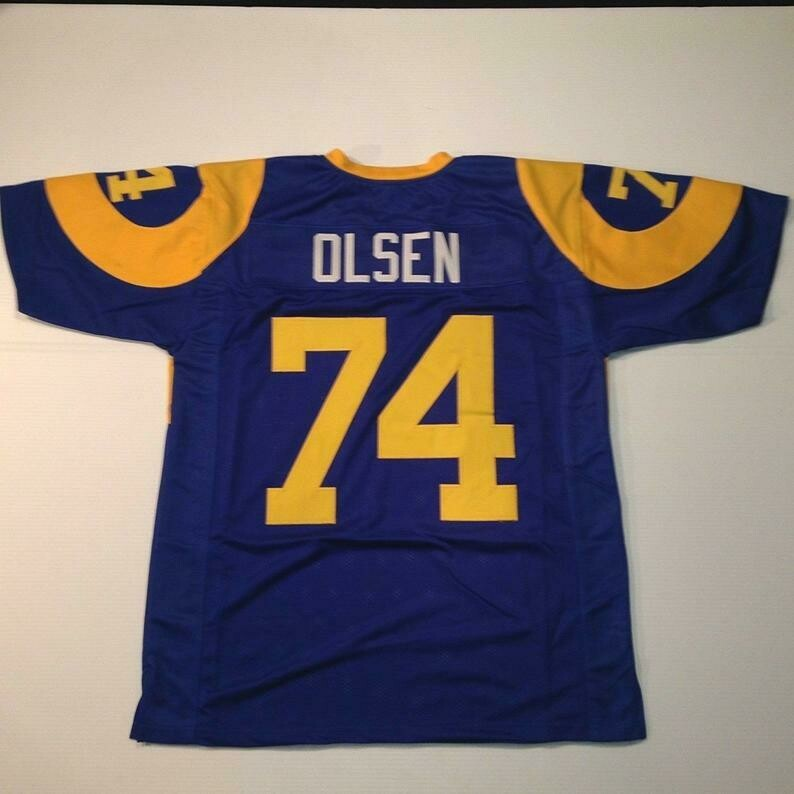 Merlin Olsen UNSIGNED CUSTOM Made Blue Jersey