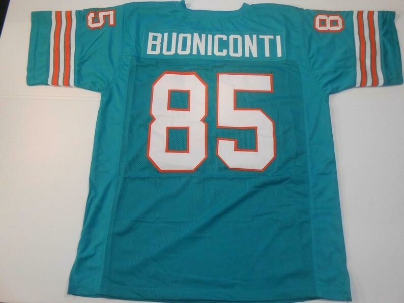 Nick Buoniconti UNSIGNED CUSTOM Sewn Stitched Teal Jersey