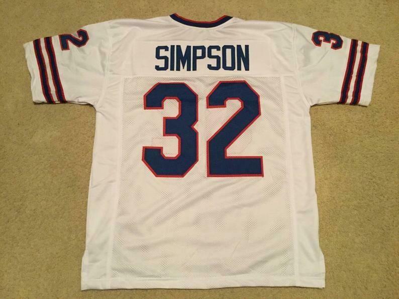 O.J. Simpson UNSIGNED CUSTOM Made White Jersey