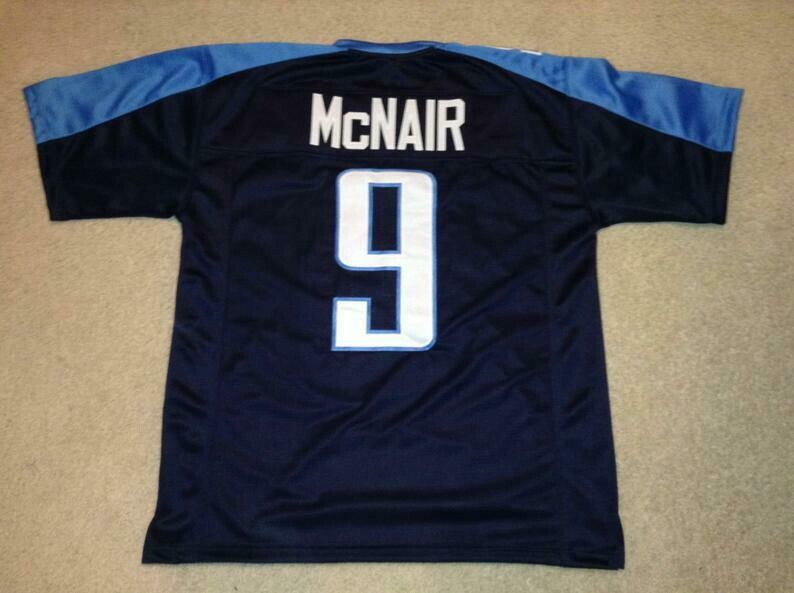 Steve McNair UNSIGNED CUSTOM Sewn Stitched Blue Jersey