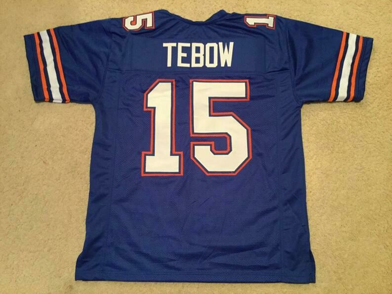 Tim Tebow UNSIGNED CUSTOM Made Blue Jersey