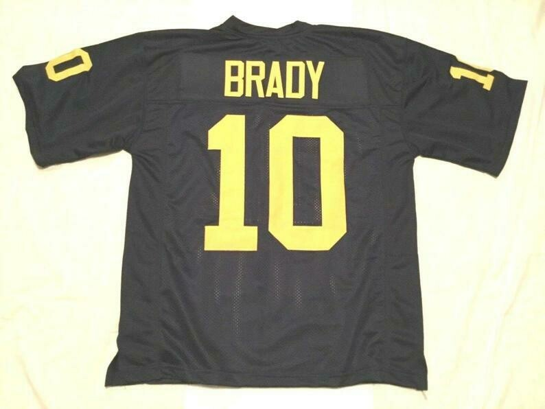 Tom Brady UNSIGNED CUSTOM Sewn Stitched Blue Jersey