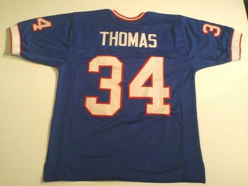 Thurman Thomas UNSIGNED CUSTOM Made Blue Jersey