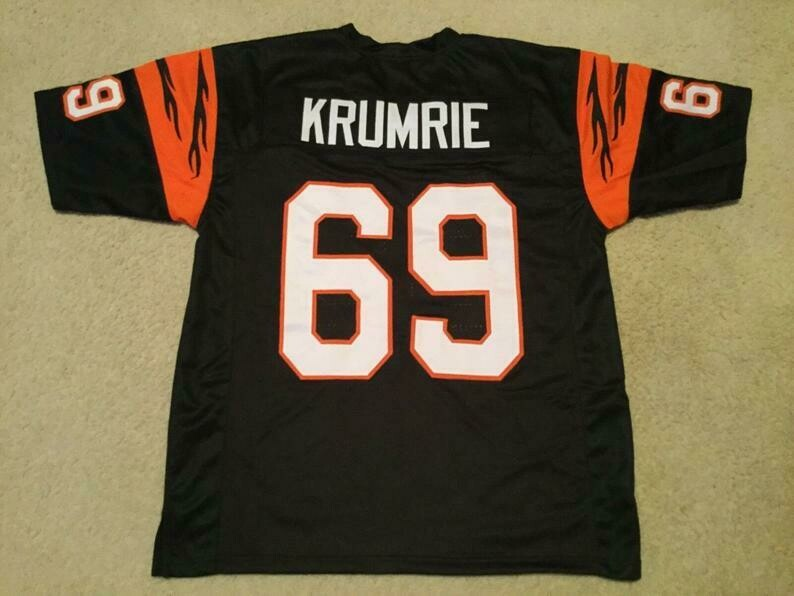 Tim Krumrie UNSIGNED CUSTOM Sewn Stitched Black Jersey