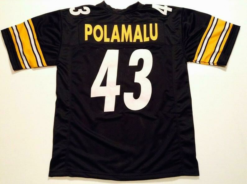 Troy Polamalu UNSIGNED CUSTOM Made Black Jersey