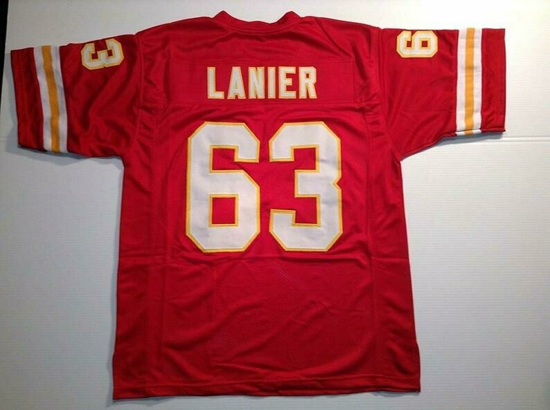 Willie Lanier UNSIGNED CUSTOM Sewn Stitched Red Jersey