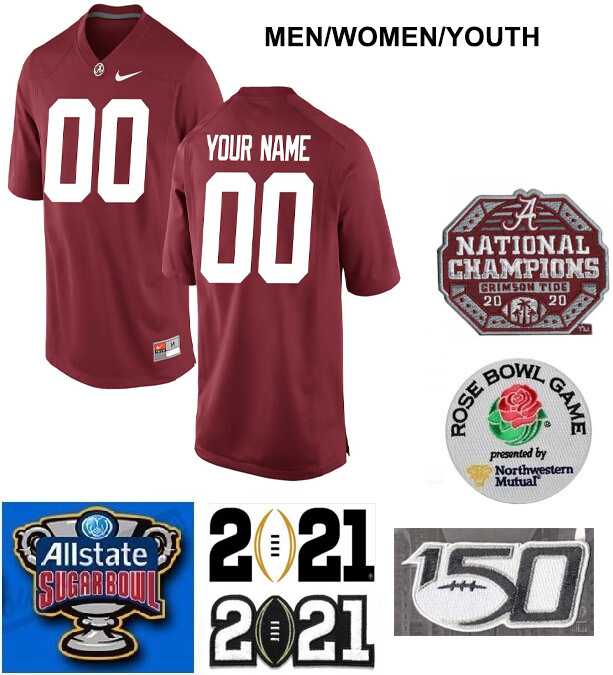 Alabama Crimson Tide Custom Name and Number College Football Jersey Red