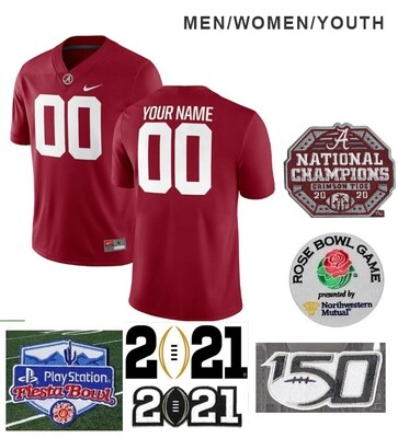 Alabama Crimson Tide Custom Name and Number College Football Red Jersey