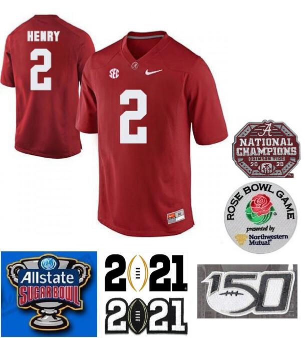 Alabama Crimson Tide #2 Derrick Henry Color Stitched Jersey Red