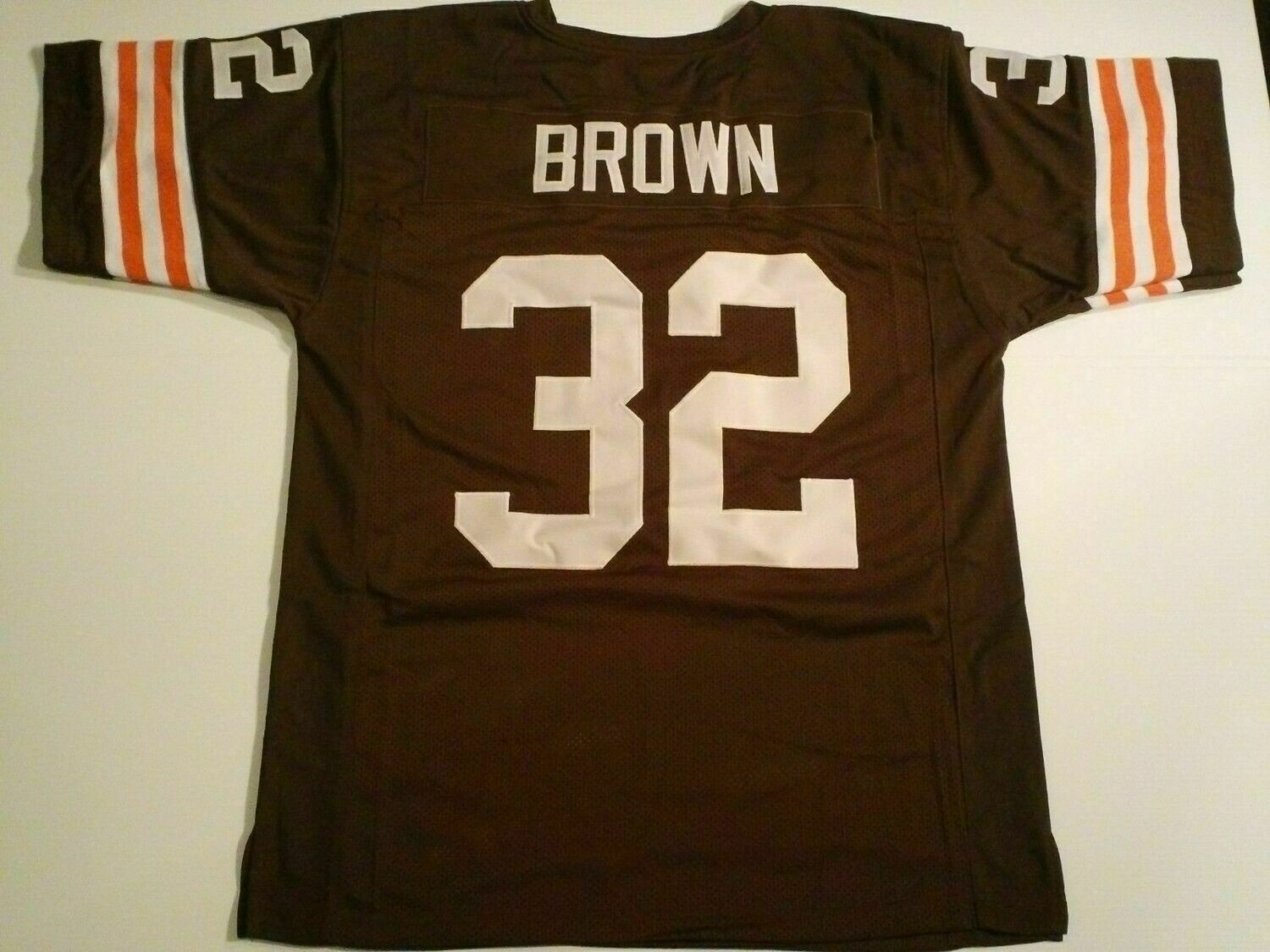 UNSIGNED CUSTOM Sewn Stitched Jim Brown Brown Jersey