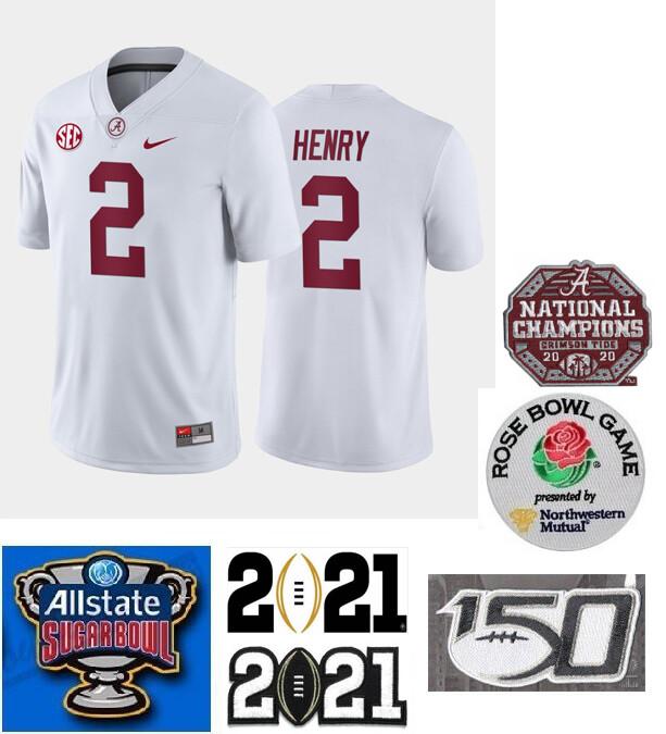 Alabama Crimson Tide #2 Derrick Henry Color Stitched Jersey White