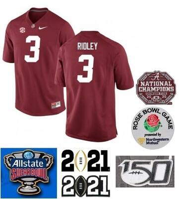 Alabama Crimson Tide #3 Calvin Ridley Jersey NCAA Football Red