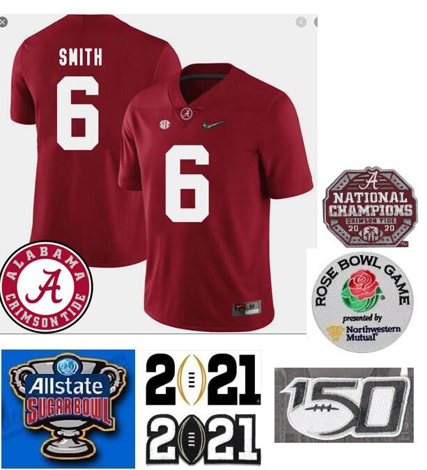 Alabama Crimson Tide #6 DeVonta Smith College Football Jersey Red