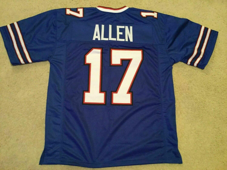 Josh Allen UNSIGNED CUSTOM Sewn Stitched Blue Jersey