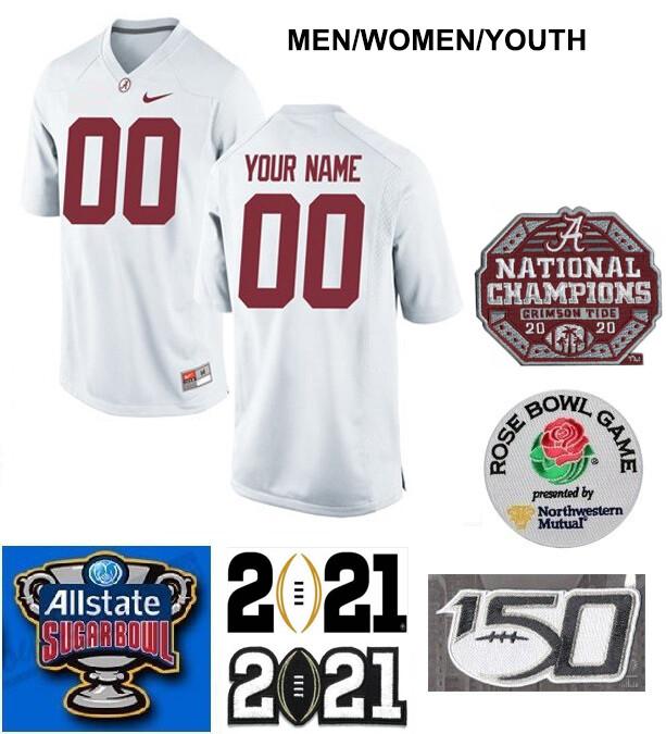 Alabama Crimson Tide Custom Name and Number Football Jersey White