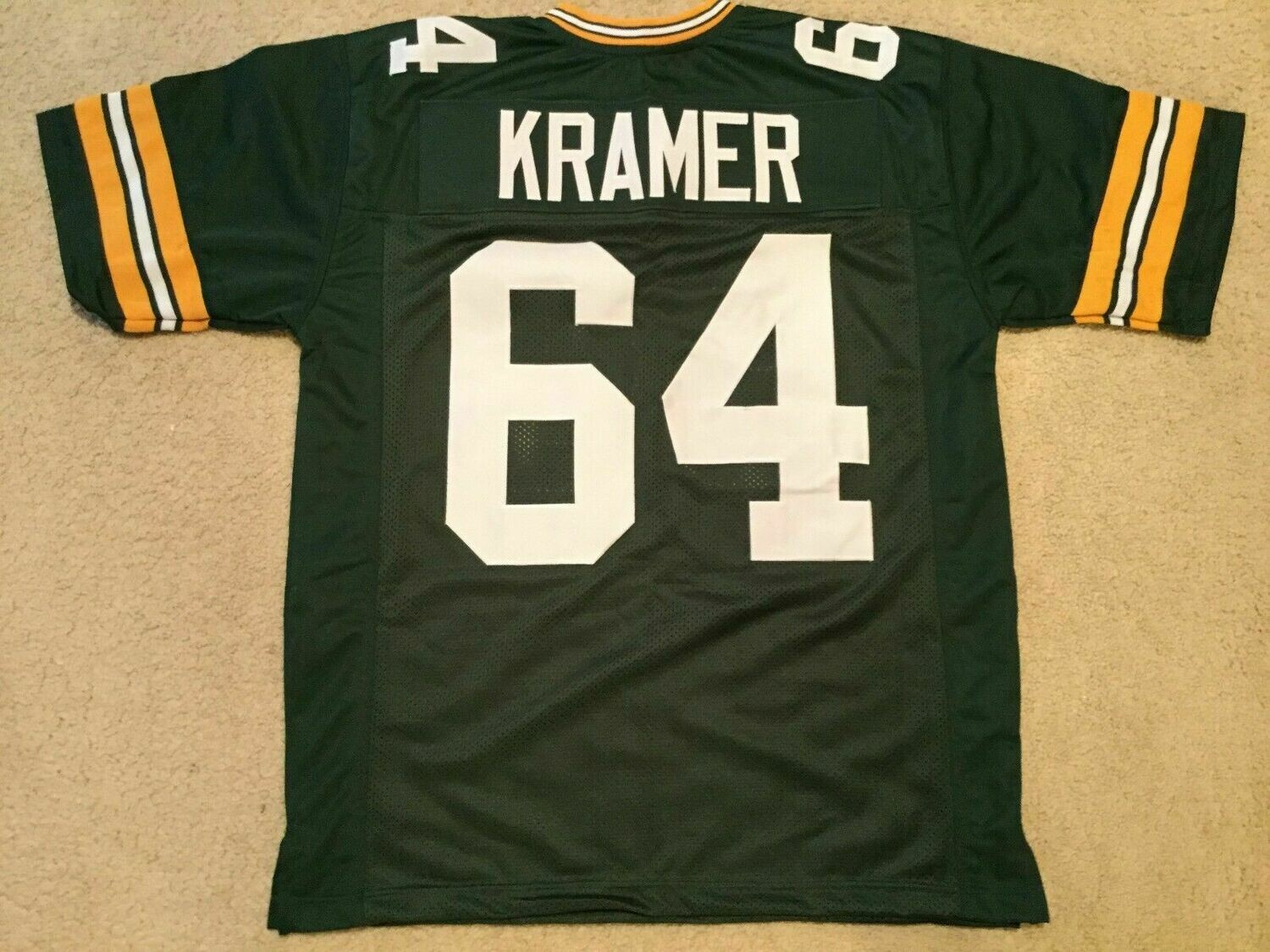 UNSIGNED CUSTOM Sewn Stitched Jerry Kramer Green Jersey