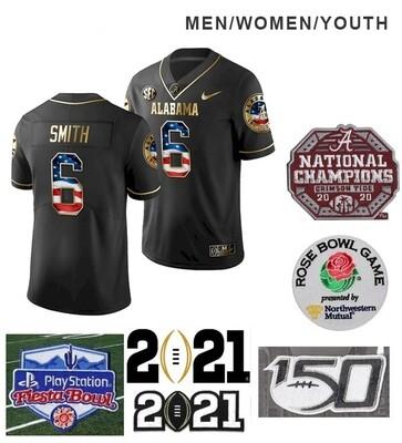Alabama Crimson Tide #6 DeVonta Smith College Football Jersey Black