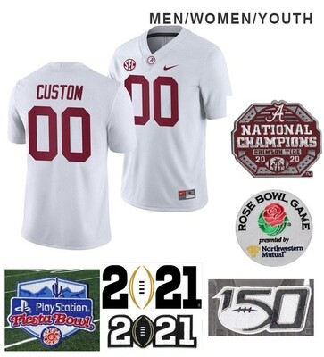 Alabama Crimson Tide Custom Name and Number College Football White Jersey