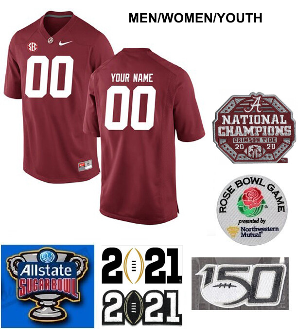 Alabama Crimson Tide Custom Name and Number Football Jersey Red