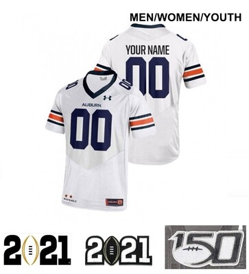 Auburn Tigers Custom Name and Number College Football Jersey White