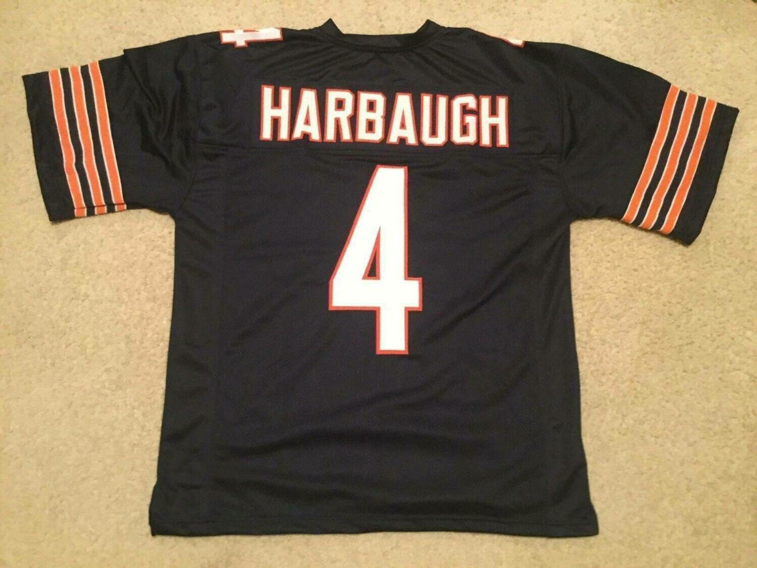 UNSIGNED CUSTOM Sewn Stitched Jim Harbaugh Blue Jersey