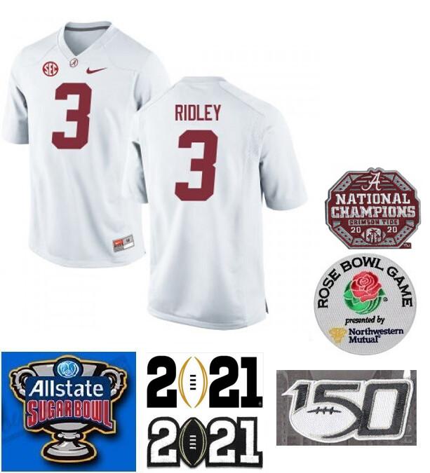 Alabama Crimson Tide #3 Calvin Ridley Jersey NCAA Football White