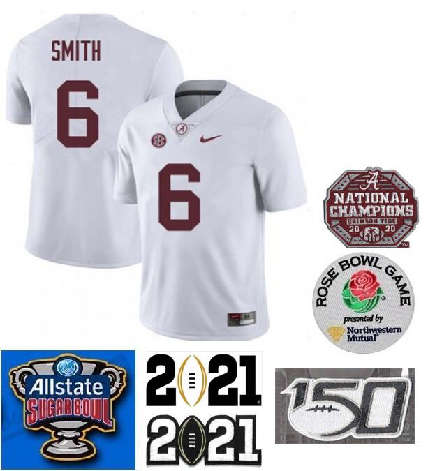 Alabama Crimson Tide #6 DeVonta Smith College Football Jersey White