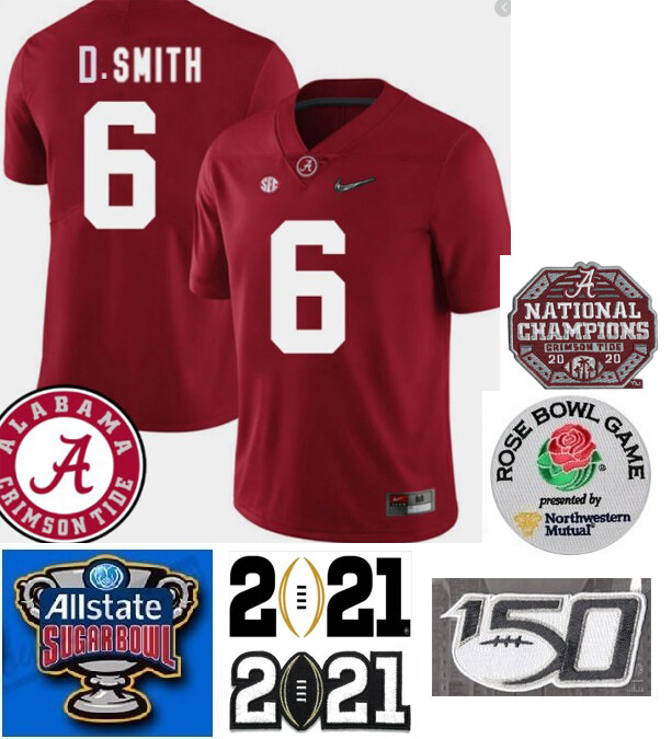 Alabama Crimson Tide #6 DeVonta Smith College NCAA Football Jersey Red