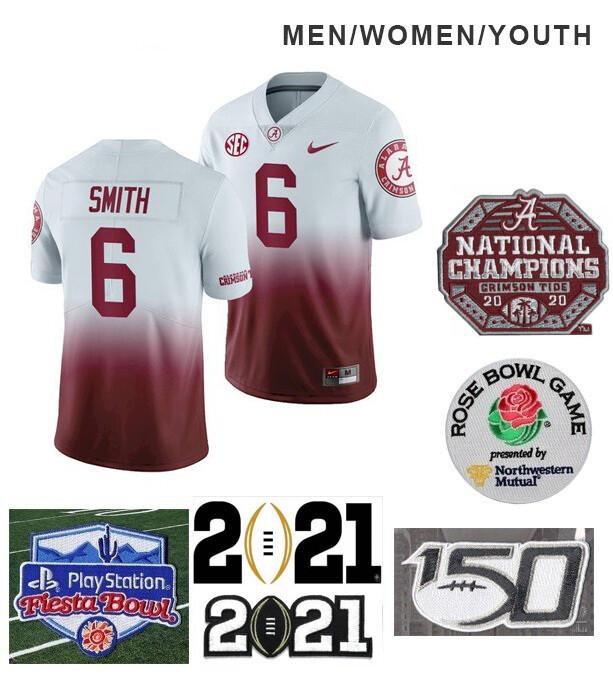 Alabama Crimson Tide #6 DeVonta Smith College NCAA Football White Red Jersey