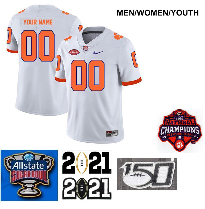 Clemson Tigers Customize Legend Stitched College Football Jersey White