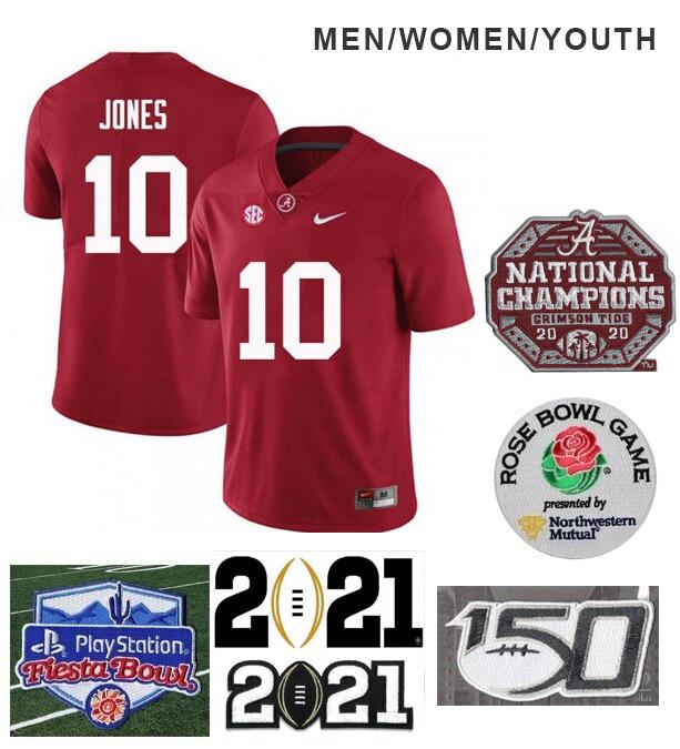 Alabama Crimson Tide #10 Mac Jones Football Jersey Red
