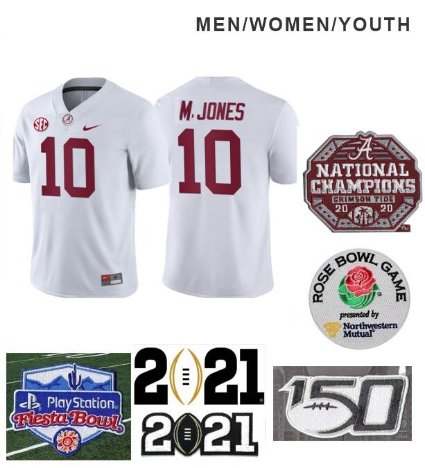 Alabama Crimson Tide #10 Mac Jones Football Jersey White