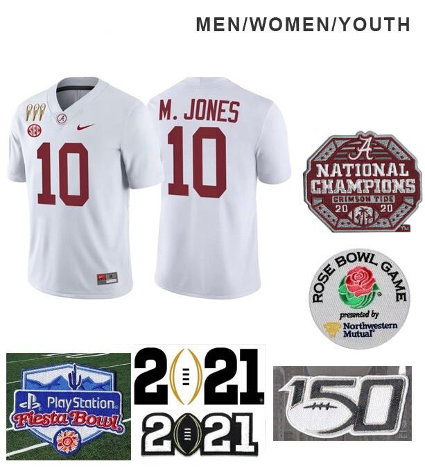 Alabama Crimson Tide #10 Mac Jones NCAA Football Jersey White