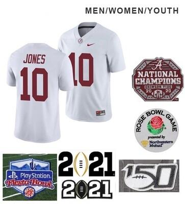 Alabama Crimson Tide #10 Mac Jones NCAA Football White Jersey