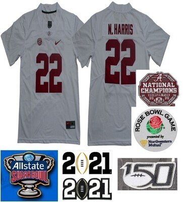 Alabama Crimson Tide #22 Najee Harris College Football Jersey White