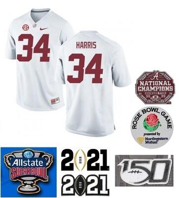 Alabama Crimson Tide #34 Damien Harris NCAA Football Jersey White