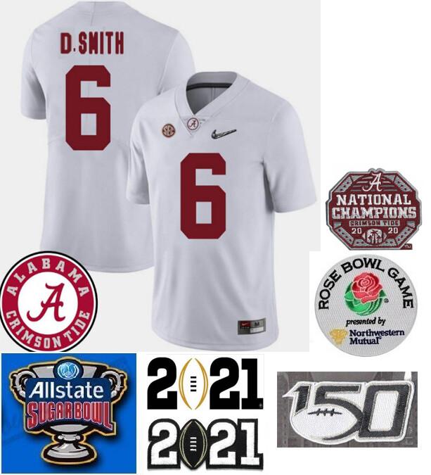 Alabama Crimson Tide #6 DeVonta Smith College NCAA Football Jersey White