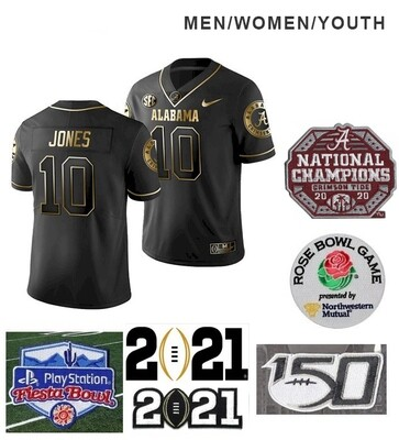 Alabama Crimson Tide #10 Mac Jones NCAA Football Jersey Black