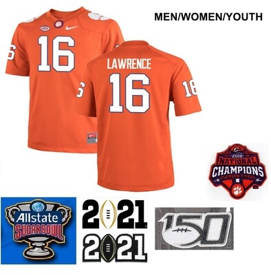Clemson Tigers #16 Trevor Lawrence Stitched College Football Jersey Orange