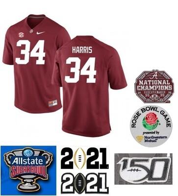 Alabama Crimson Tide #34 Damien Harris NCAA Football Jersey Red
